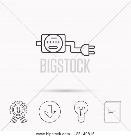 Electric counter icon. Electricity with plug sign. Download arrow, lamp, learn book and award medal icons.