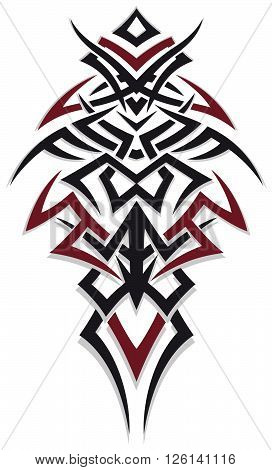 Masculine tribal and tattoo, red and black.