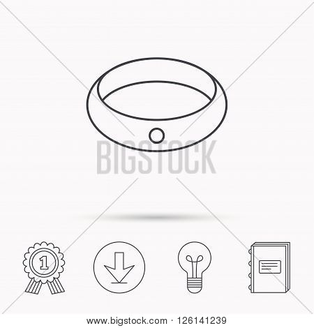 Diamond engagement ring icon. Jewelery sign. Download arrow, lamp, learn book and award medal icons.