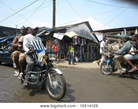 traffic in a street of Douala, Cameroon