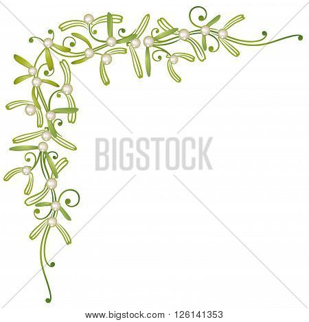 Colorful mistletoe border, green and white christmas decoration.
