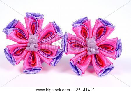 Kanzashi ornaments for women's hair. Barrette, elastic band. Handmade jewelry.
