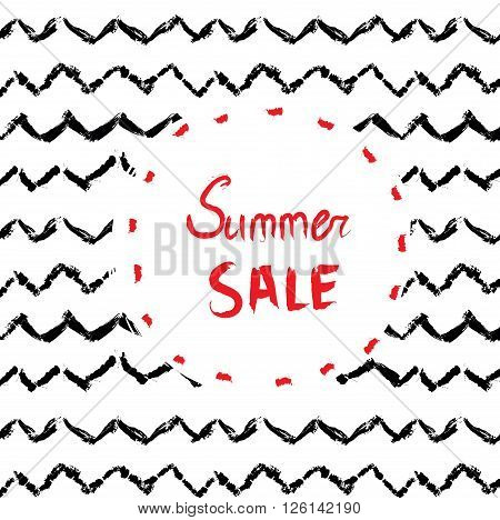 Sale background or card design with handdrawn pattern and frame - vector illustration