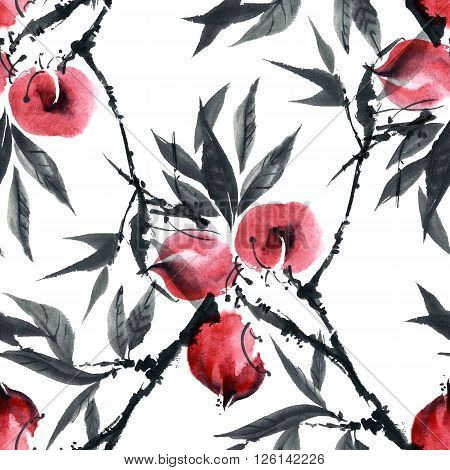 Watercolor and ink illustration of peach tree. Gohua sumi-e u-sin painting. Seamless pattern.