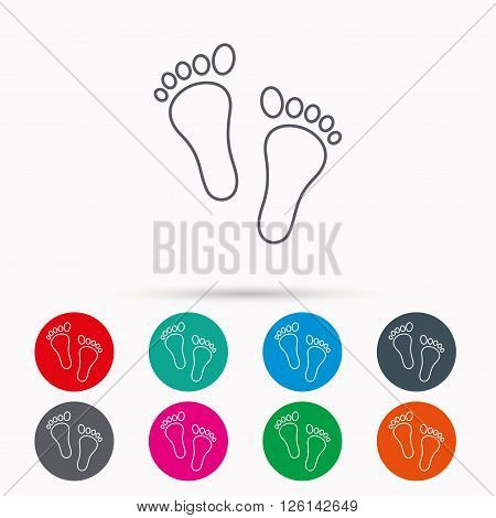 Baby footprints icon. Child feet sign. Newborn steps symbol. Linear icons in circles on white background.