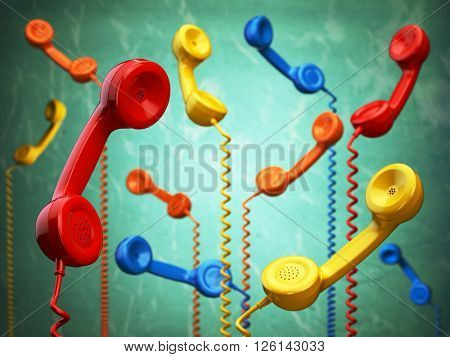 Telehone receivers of different colors hanging on the green background. Communication concept. 3d illustration