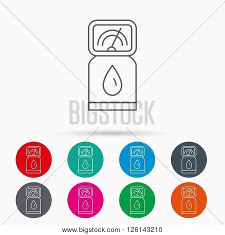 Gas station icon. Petrol fuel pump sign. Linear icons in circles on white background.