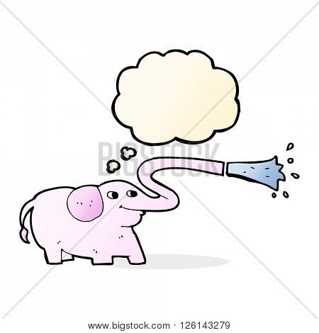 cartoon elephant squirting water with thought bubble