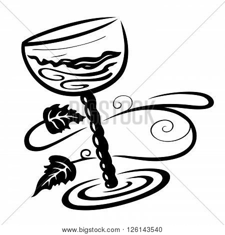 Wine glass with vine leaves, vector design.