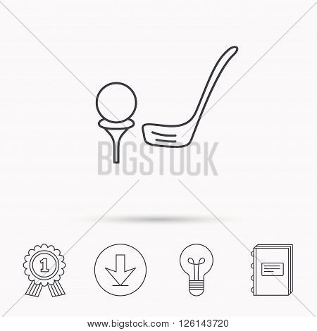 Golf club icon. Golfing sport sign. Professional equipment symbol. Download arrow, lamp, learn book and award medal icons.