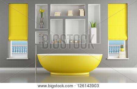 Modern bathroom with yellow bathtub- 3d rendering