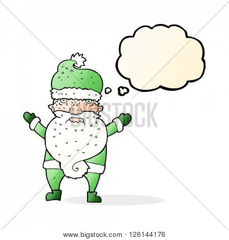 cartoon grumpy santa with thought bubble