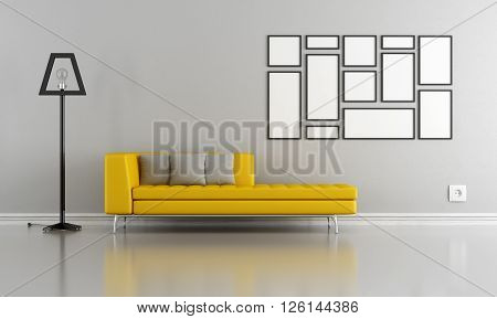Yellow couch in a minimalist living room - 3d rendering