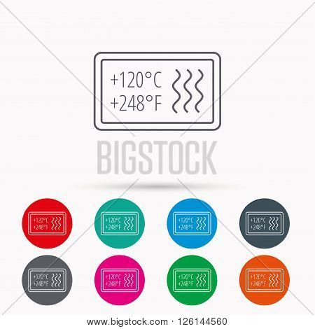 Heat resistant icon. Microwave or dishwasher information sign. Attention symbol. Linear icons in circles on white background.