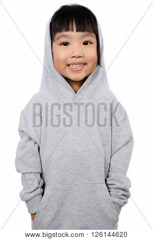 Asian Little Chinese Girl Wearing A Hoodie.