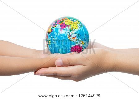 Child And Adult Holding A World Globe In Hands