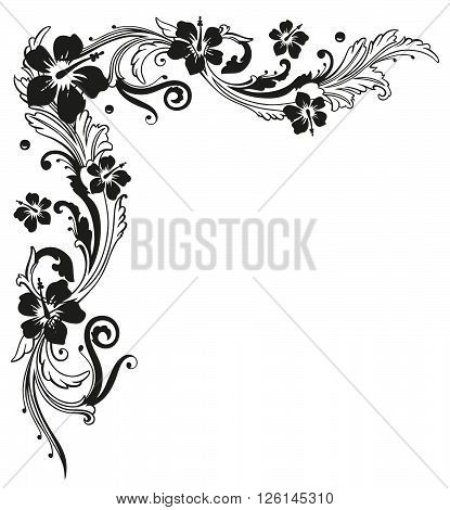 Filigree tendril with hibiscus, floral vector decoration.