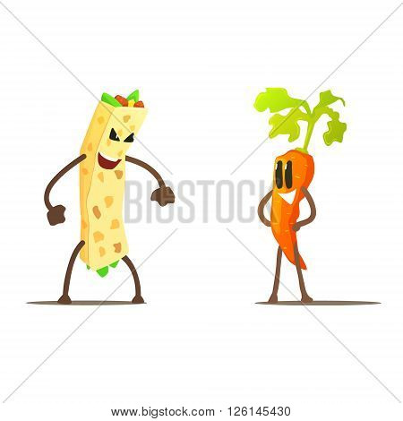 Burrito Against Carrot Cartoon Fight Flat Vector Funny Illustration In Childish Style On White Background