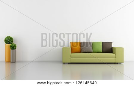 minimalist living room with green sofa - 3d rendering