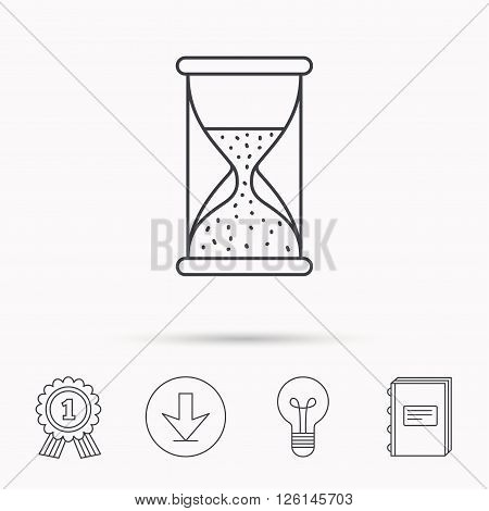 Hourglass icon. Sand time sign. Half an hour symbol. Download arrow, lamp, learn book and award medal icons.