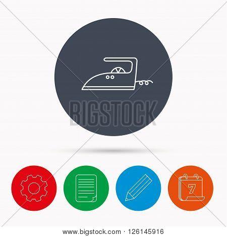 Iron icon. Ironing housework sign. Laundry service symbol. Calendar, cogwheel, document file and pencil icons.