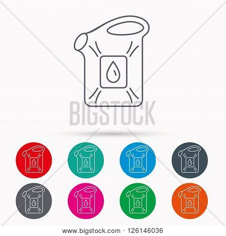 Jerrycan icon. Petrol fuel can with drop sign. Linear icons in circles on white background.