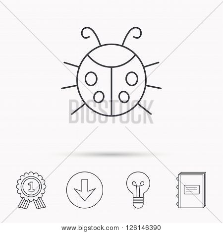 Ladybug icon. Ladybird insect sign. Flying beetle bug symbol. Download arrow, lamp, learn book and award medal icons.