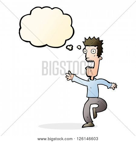 cartoon shrieking man with thought bubble