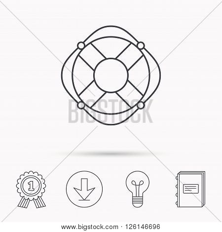 Lifebuoy with rope icon. Lifebelt sos sign. Lifesaver help equipment symbol. Download arrow, lamp, learn book and award medal icons.