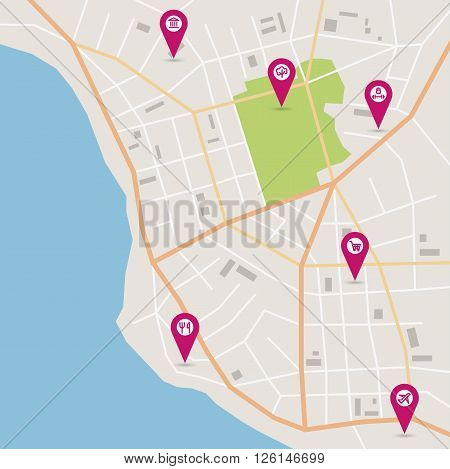 Vector flat abstract city map with pin pointers and infrastructure icons