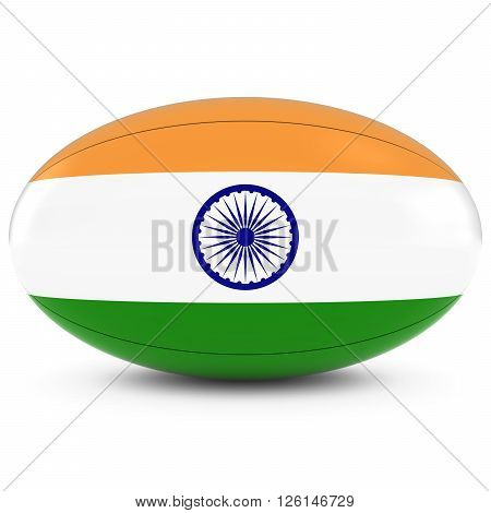 India Rugby - Indian Flag On Rugby Ball On White