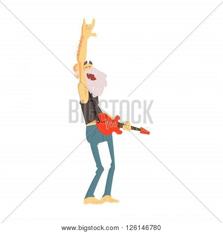 Old Man Playing Electro Guitar Cute Cartoon Style Isolated Flat Vector Illustration On White Background