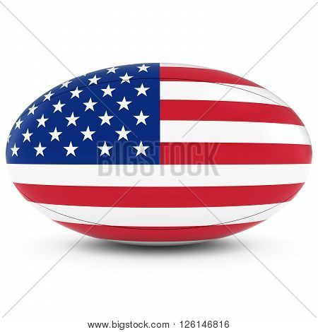 Us Rugby - American Flag On Rugby Ball On White