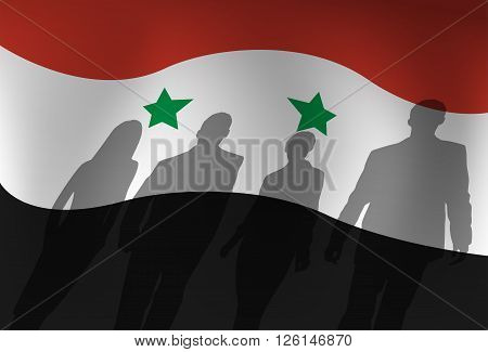 Silhouette People Group Over Syria Flag Background Vector Illustration