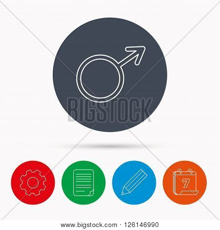 Male icon. Gentlemen sexuality sign. Calendar, cogwheel, document file and pencil icons.