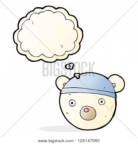 cartoon polar bear cub wearing hat with thought bubble