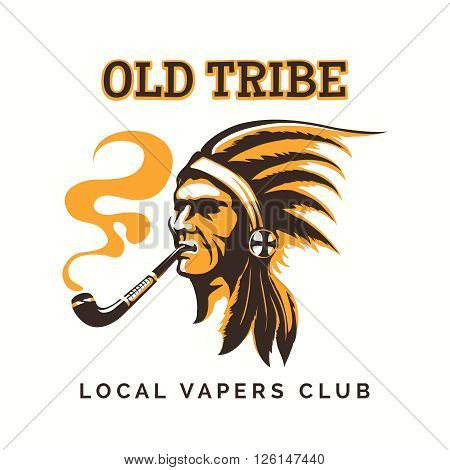 Vape club logo or vipe bar emblem with tribal american indian. Vector illustration