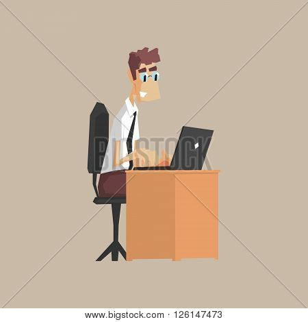 Tech Support Office Worker Primitive Geometric Cartoon Style Flat Vector Design Isolated Illustration