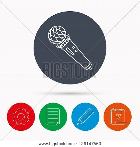 Microphone icon. Karaoke or radio sign. Calendar, cogwheel, document file and pencil icons.