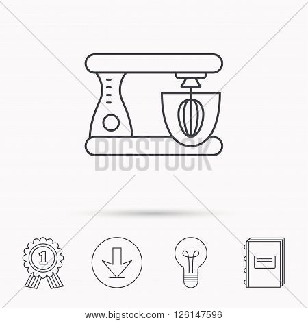 Mixer icon. Electric blender sign. Download arrow, lamp, learn book and award medal icons.