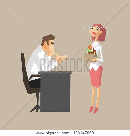 Boss Sacking An Employee Primitive Geometric Cartoon Style Flat Vector Design Isolated Illustration