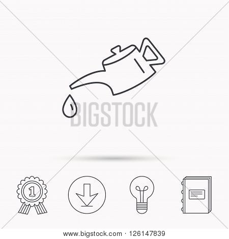 Motor oil icon. Fuel can with drop sign. Download arrow, lamp, learn book and award medal icons.