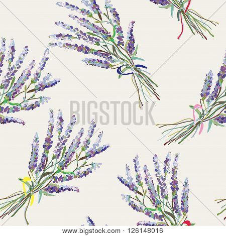 Lavender seamless pattern - handdrawn style graphic vector illustration