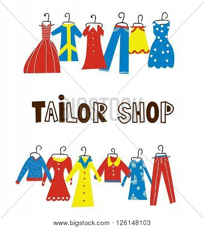Tailor and sewing shop background with clothes - vector illustration