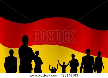 Silhouette People Group Over German Flag Background Vector Illustration