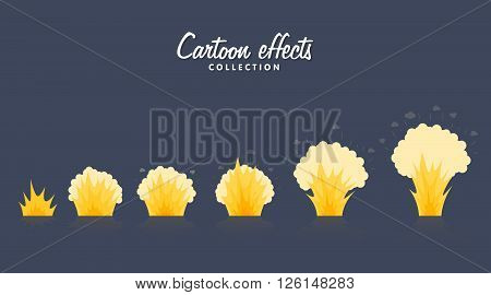 Cartoon explosion effect with smoke. Effect boom, explode flash, bomb comic, vector illustration. Animation frames for game. Sprite sheet on dark background.