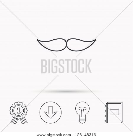 Mustache icon. Hipster symbol. Gentleman sign. Download arrow, lamp, learn book and award medal icons.