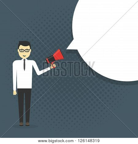 Business man shouting in a megaphone. Man announcing through loudspeaker advertising. Announcing promotion and banners concept. Vector illustration in a flat design style