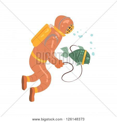 Scuba Diver With Pet Fish Flat Isolated Vector Simple Drawing On White Background In Funny Cartoon Style