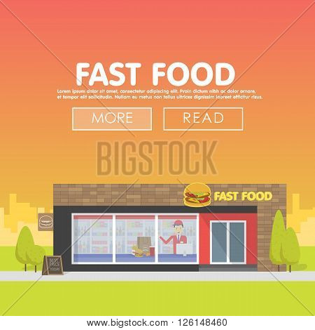 Restaurants and shops facade, storefront vector detailed flat design illustration